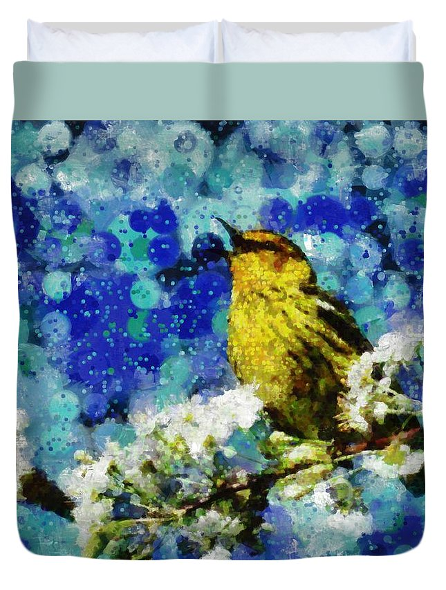 Digital Painting Duvet Cover featuring the digital art Warbler Of Spring by Mario Carini