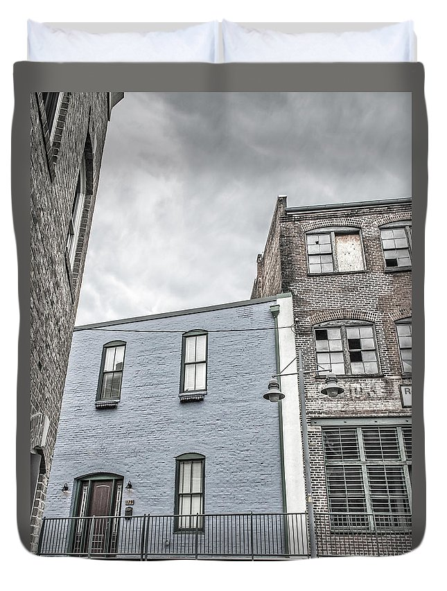 Architecture Duvet Cover featuring the photograph Warehouse Row by Jim Love