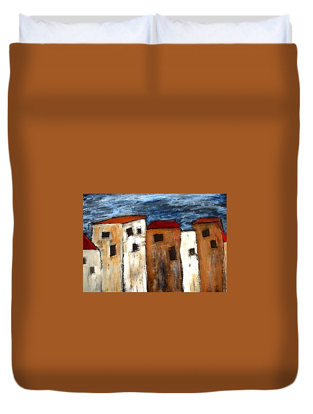 Acrylic Duvet Cover featuring the painting Warehouse Row by Wayne Potrafka