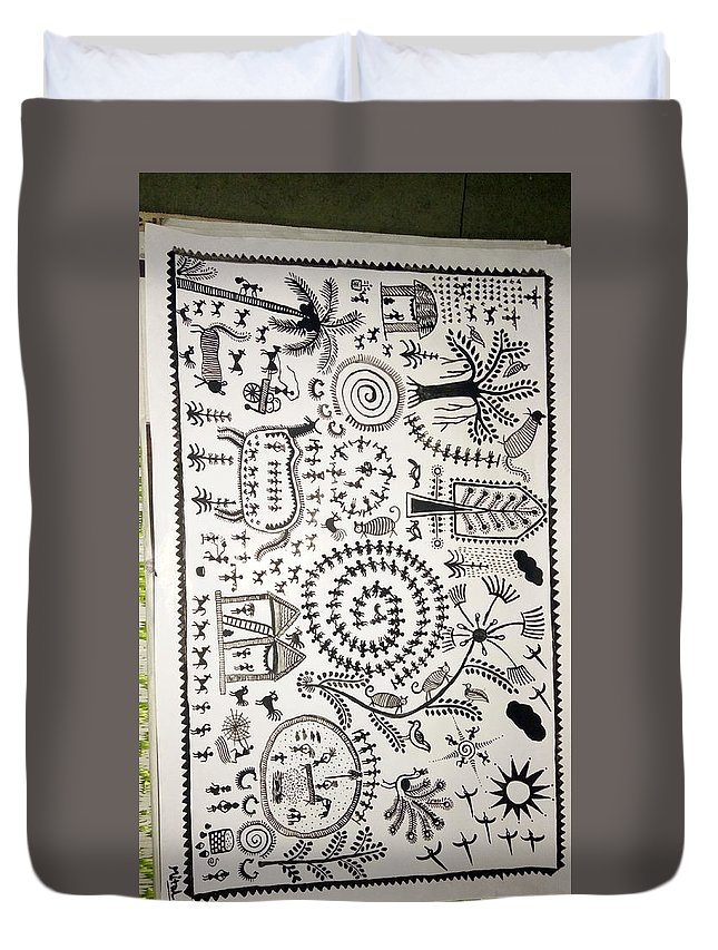 Warli Landscape. Duvet Cover featuring the painting Warli Tribal Painting by Mitalkumari Patel