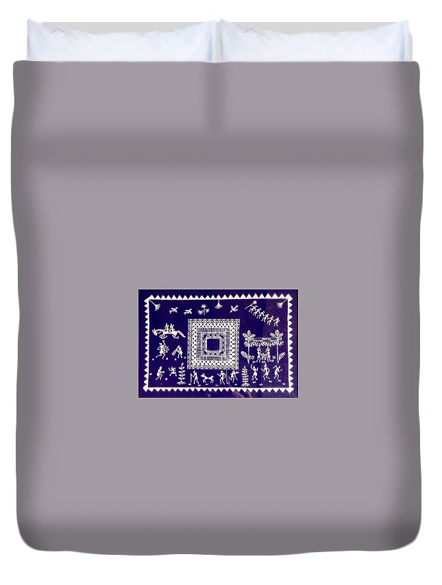 Warli Duvet Cover featuring the painting Warli Village by Meena Patankar