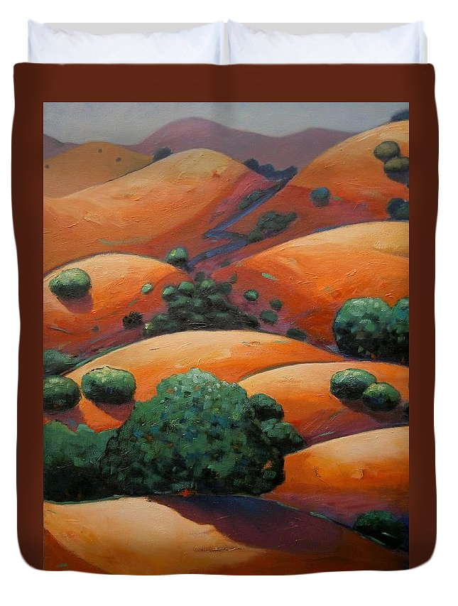 California Landscape Duvet Cover featuring the painting Warm Afternoon Light On Ca Hillside by Gary Coleman