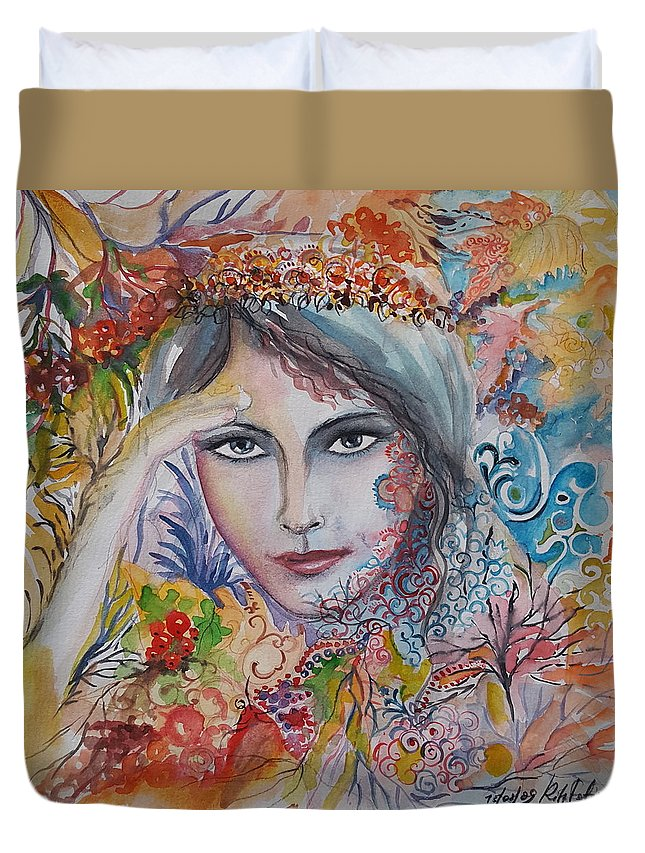 Autumn Duvet Cover featuring the painting Warm Autumn by Rita Fetisov