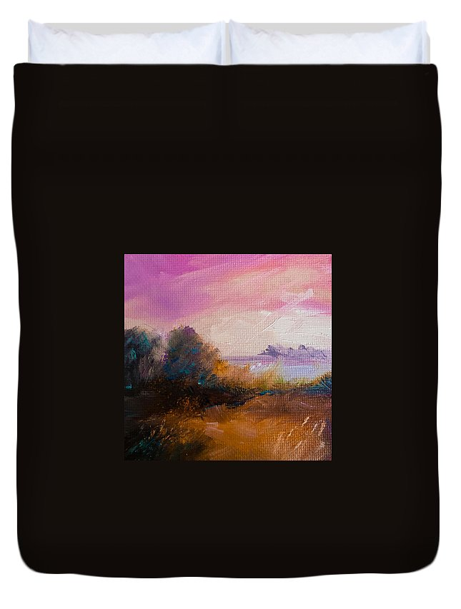 Landscape Duvet Cover featuring the painting Warm Colorful Landscape by Michele Carter