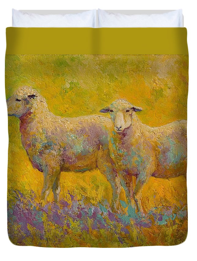 Llama Duvet Cover featuring the painting Warm Glow - Sheep Pair by Marion Rose