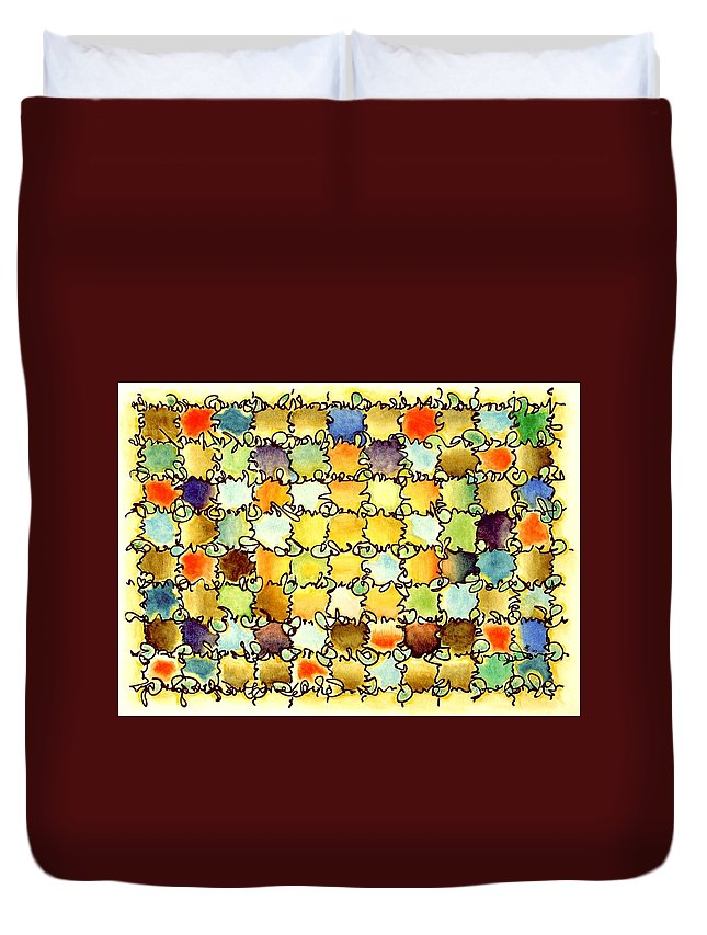 Abstract Duvet Cover featuring the painting Warm Light by Dave Martsolf