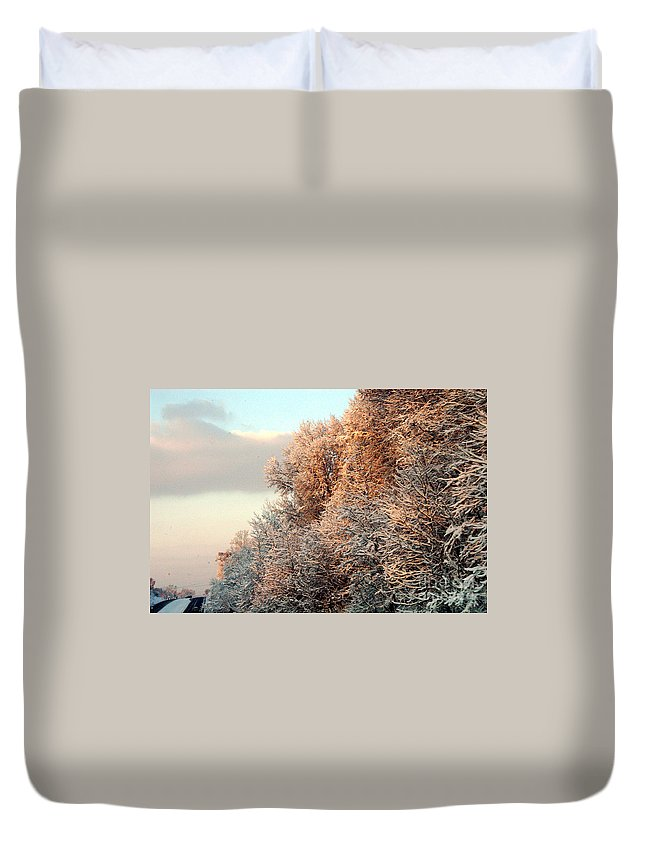 Clay Duvet Cover featuring the photograph Warm Light Snow by Clayton Bruster
