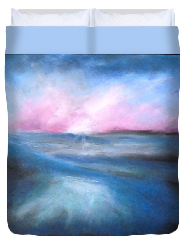 Ocean Duvet Cover featuring the painting Warm Tides by Jen Shearer
