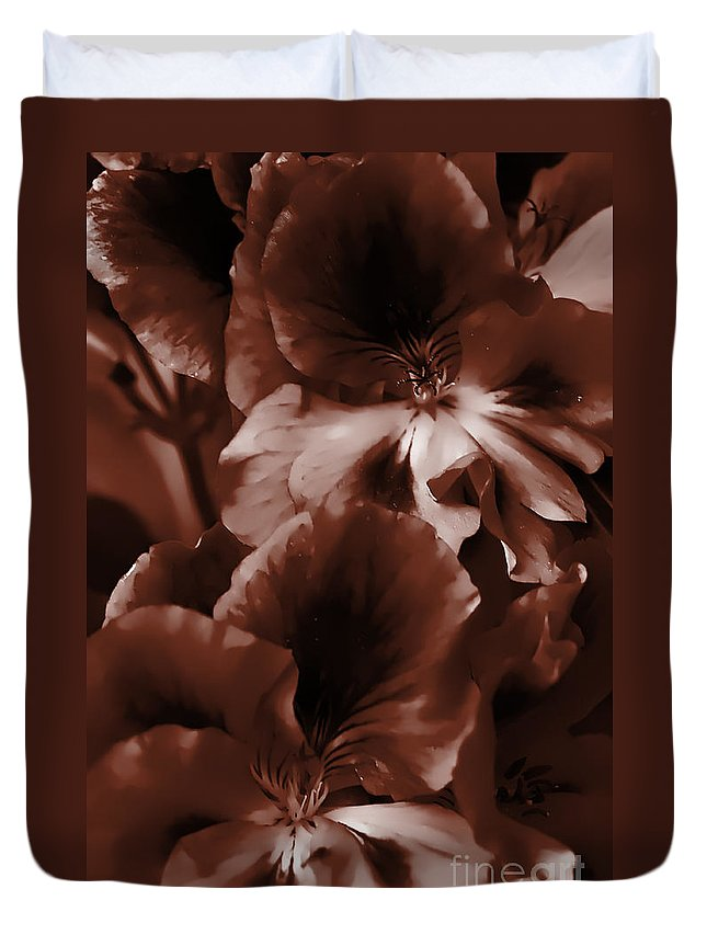 Clay Duvet Cover featuring the photograph Warm Tone Monochrome Floral Art by Clayton Bruster