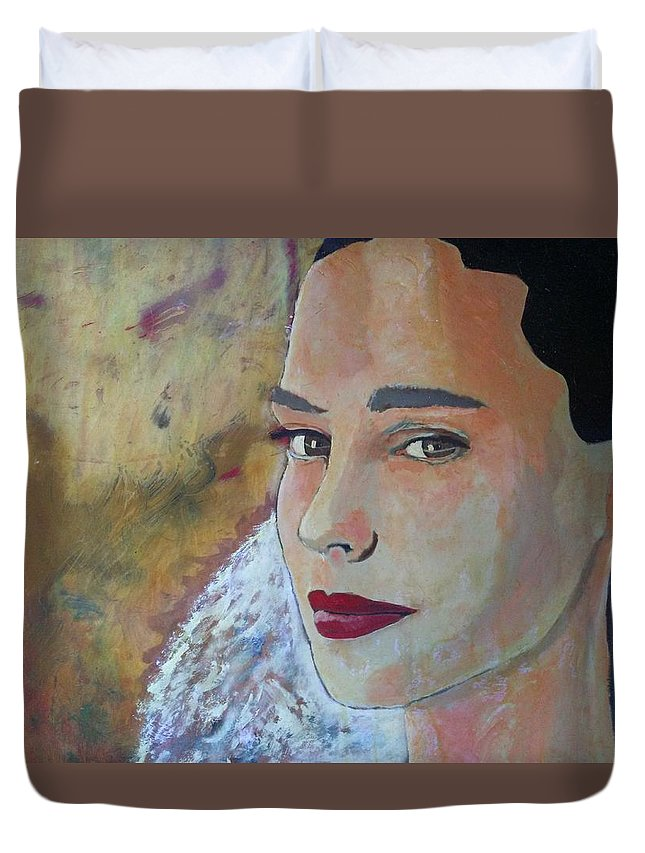 The Glow Of The Last Bit Of Light Fades She Turns To Look At Me And I Can Tell She Is At Peace. Duvet Cover featuring the painting Warmth Of Heart by J Bauer