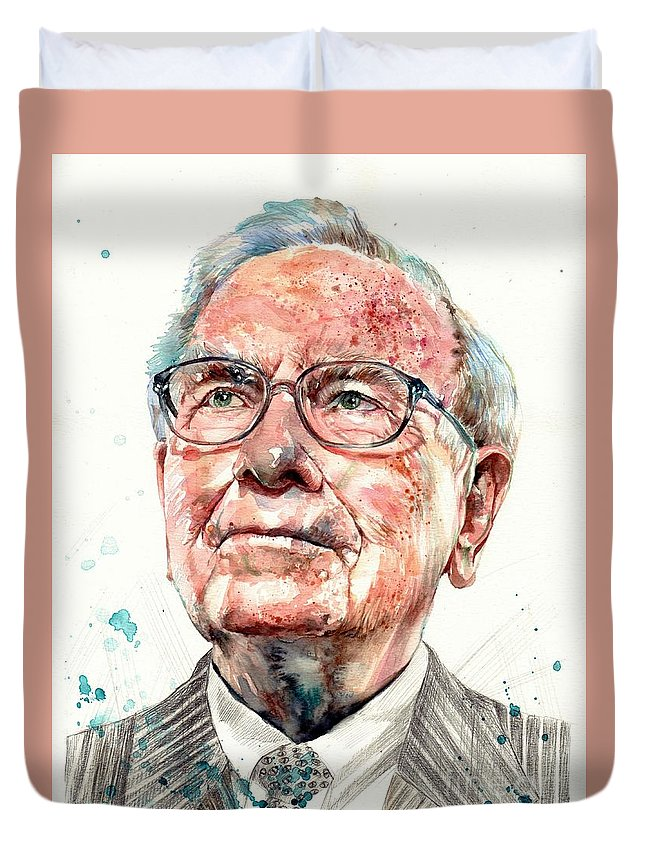Warren Duvet Cover featuring the painting Warren Buffett portrait by Suzann Sines