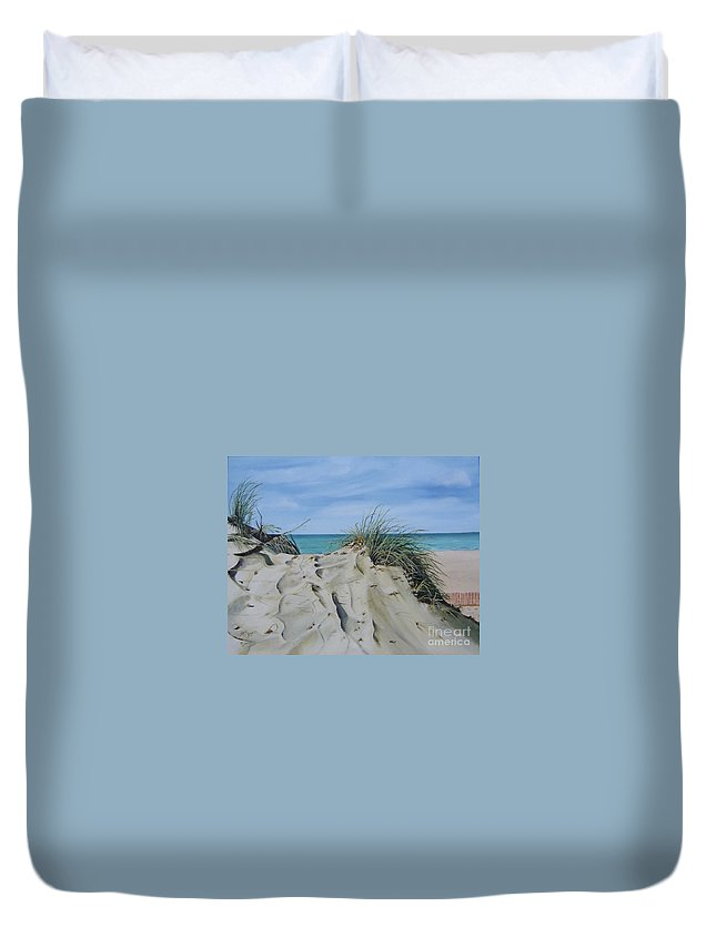 Lake Duvet Cover featuring the painting Warren Dunes by Mary Rogers