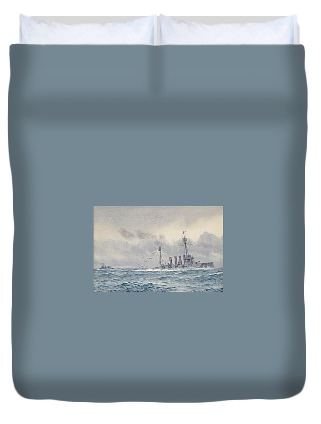 Alma Claude Burlton Cull (1880-1931) The Sinking Of H.m.s. Warrior After The Battle Of Jutland Duvet Cover featuring the painting Warrior After The Battle Of Jutland by MotionAge Designs