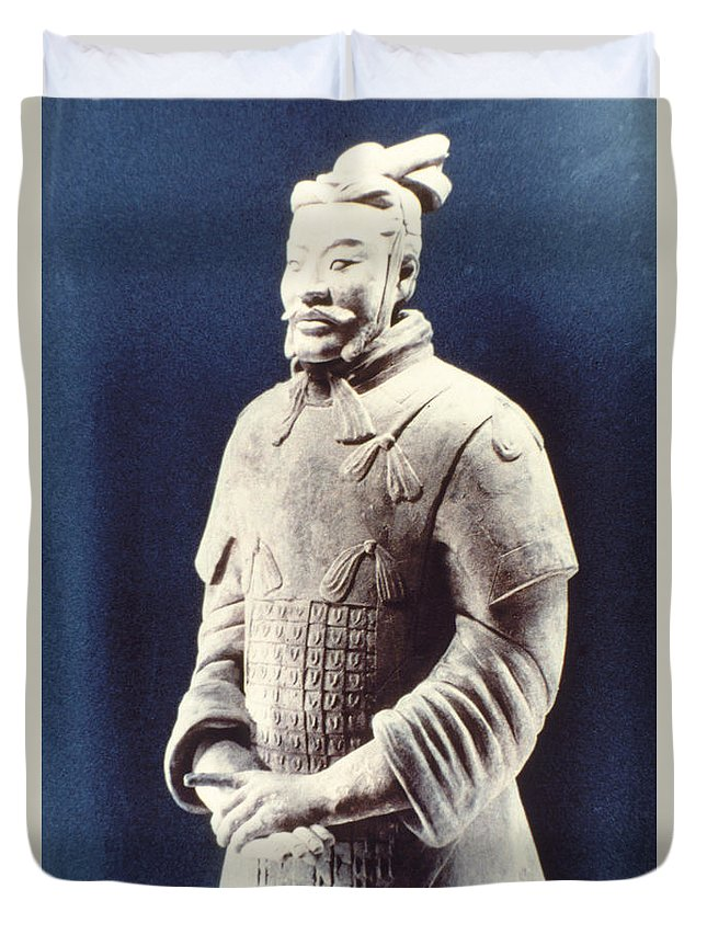 Terracotta Army Duvet Cover featuring the photograph Warrior Of The Terracotta Army by Heiko Koehrer-Wagner