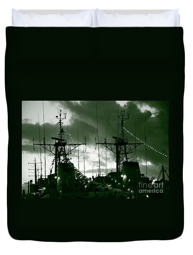 Antenna Duvet Cover featuring the photograph Warships At Twilight by Gaspar Avila