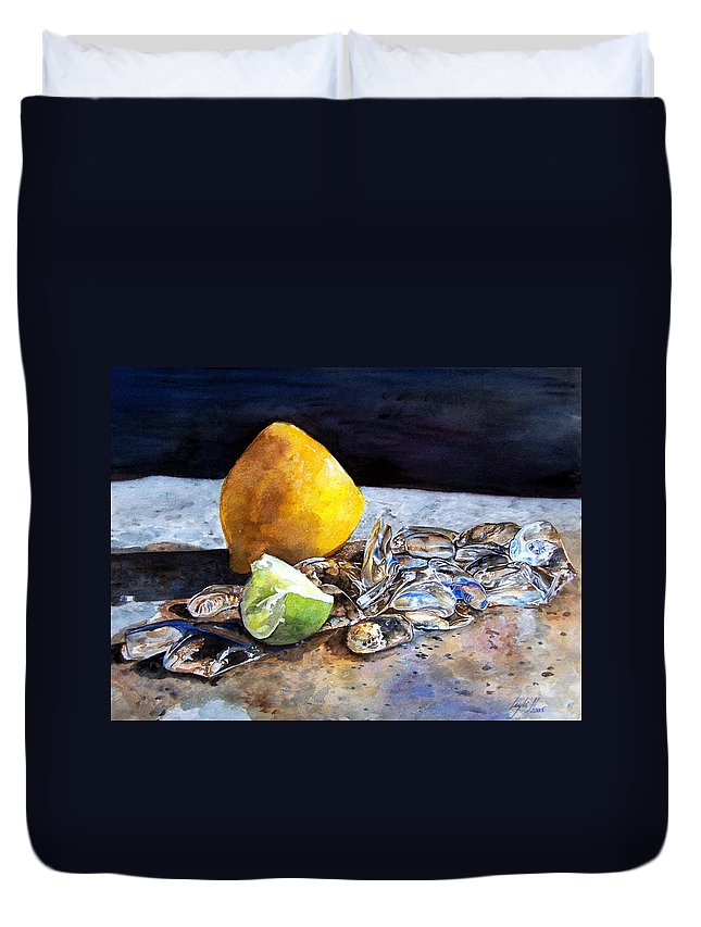 Lemon Duvet Cover featuring the painting Was... by Leyla Munteanu