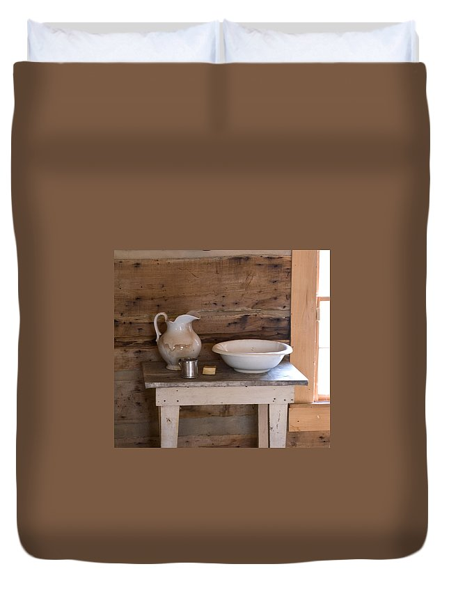Wash Duvet Cover featuring the photograph Wash Bowl Pitcher And Cup by Douglas Barnett