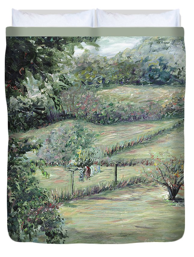 Landscape Duvet Cover featuring the painting Washday In Provence by Nadine Rippelmeyer