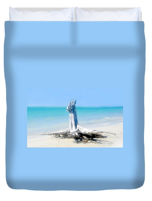 Tire Duvet Cover featuring the painting Washed Ashore by David Lee Thompson