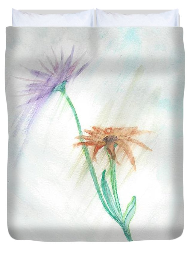 Flowers Duvet Cover featuring the painting Washing Away by Judy Hall-Folde