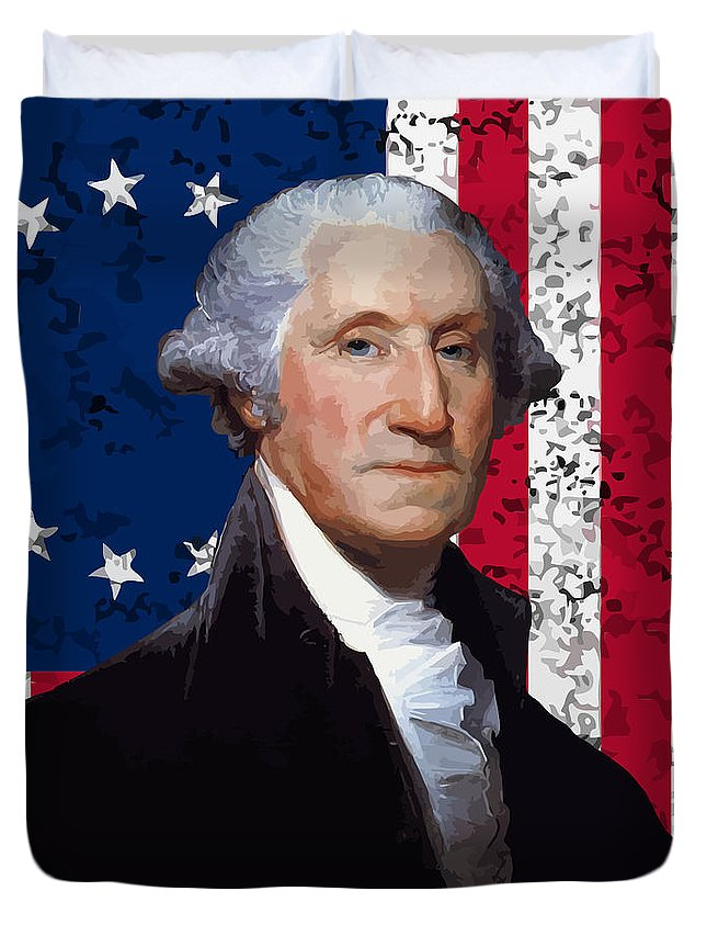 George Washington Duvet Cover featuring the painting Washington And The American Flag by War Is Hell Store
