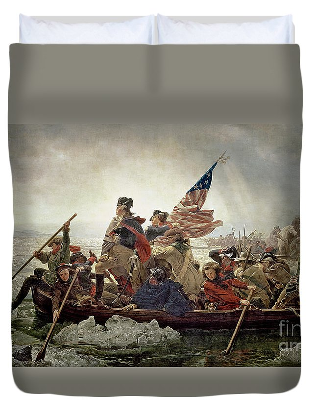 Washington Duvet Cover featuring the painting Washington Crossing The Delaware River by Emanuel Gottlieb Leutze