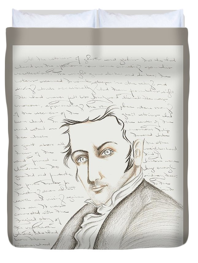 Washington Irving Duvet Cover featuring the drawing Washington Irving by Heather Henry