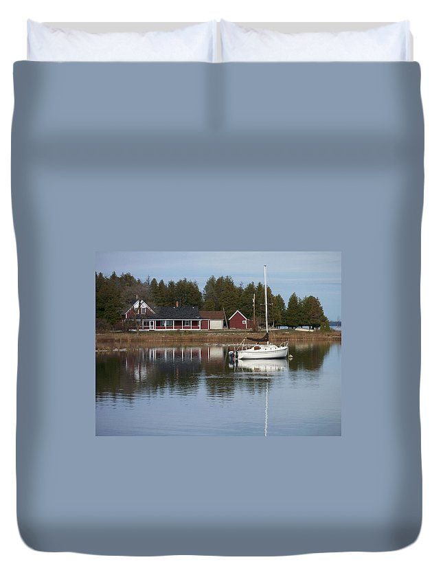 Washington Island Duvet Cover featuring the photograph Washington Island Harbor 4 by Anita Burgermeister