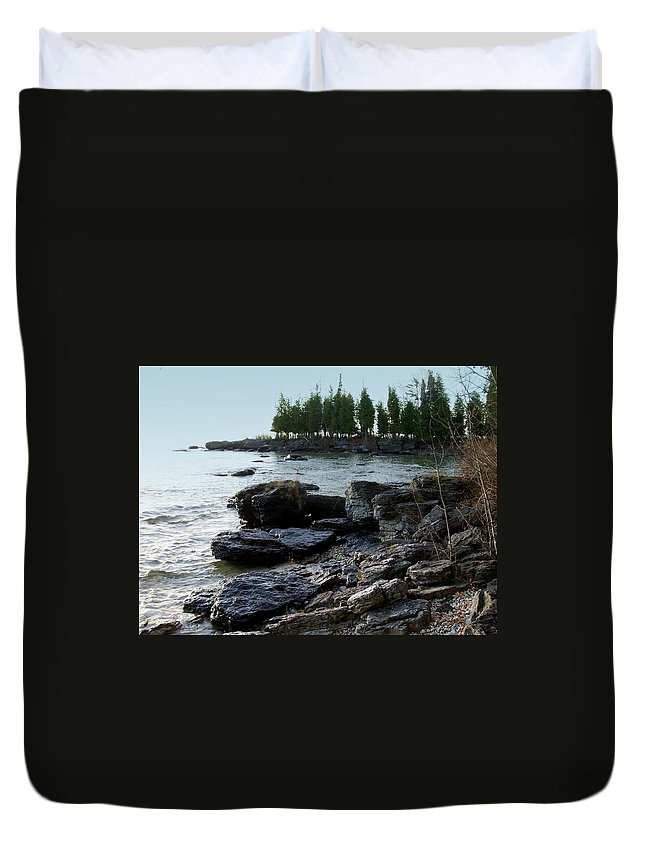 Washington Island Duvet Cover featuring the photograph Washington Island Shore 1 by Anita Burgermeister