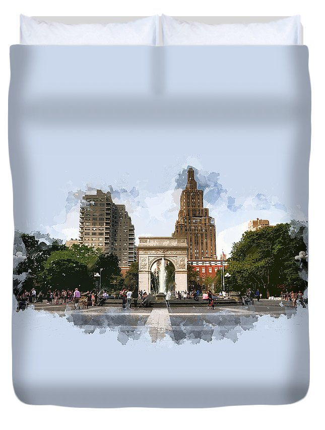 Architecture Duvet Cover featuring the painting Washington Square Park Greenwich Village New York City by Elaine Plesser