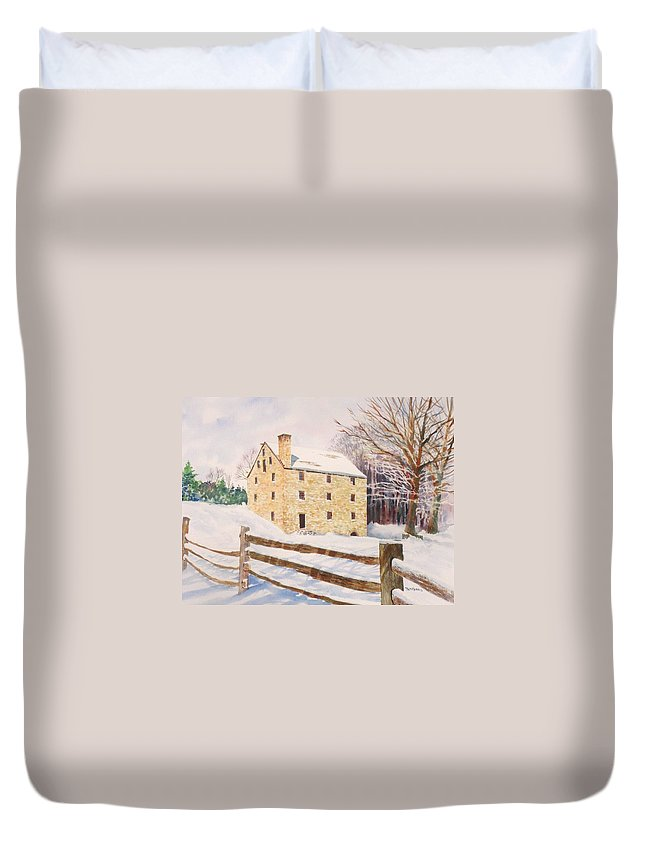 Landscape Duvet Cover featuring the painting Washington's Grist Mill by Tom Harris