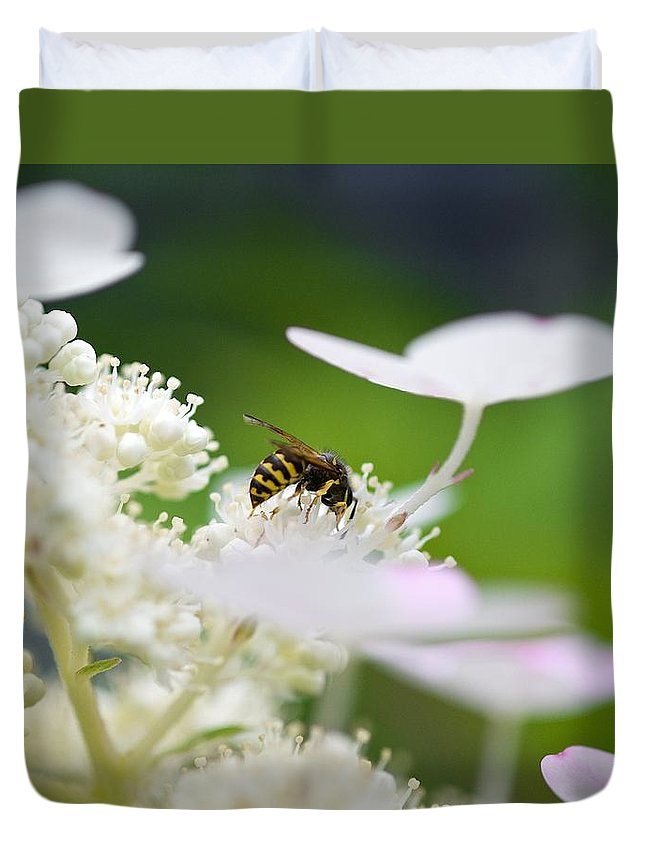Wasp Duvet Cover featuring the photograph Wasp At Work by Robert Skuja