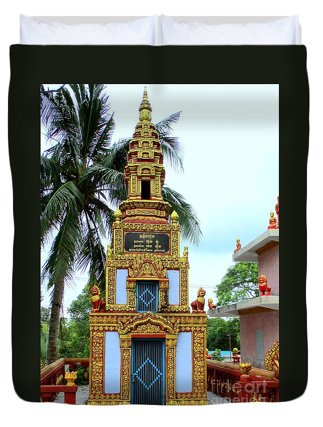 Cambodia Duvet Cover featuring the photograph Wat Krom 26 by Randall Weidner