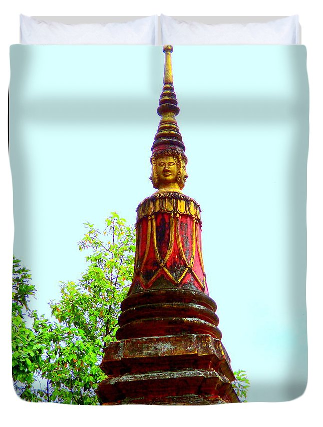 Cambodia Duvet Cover featuring the photograph Wat Krom 32 by Randall Weidner