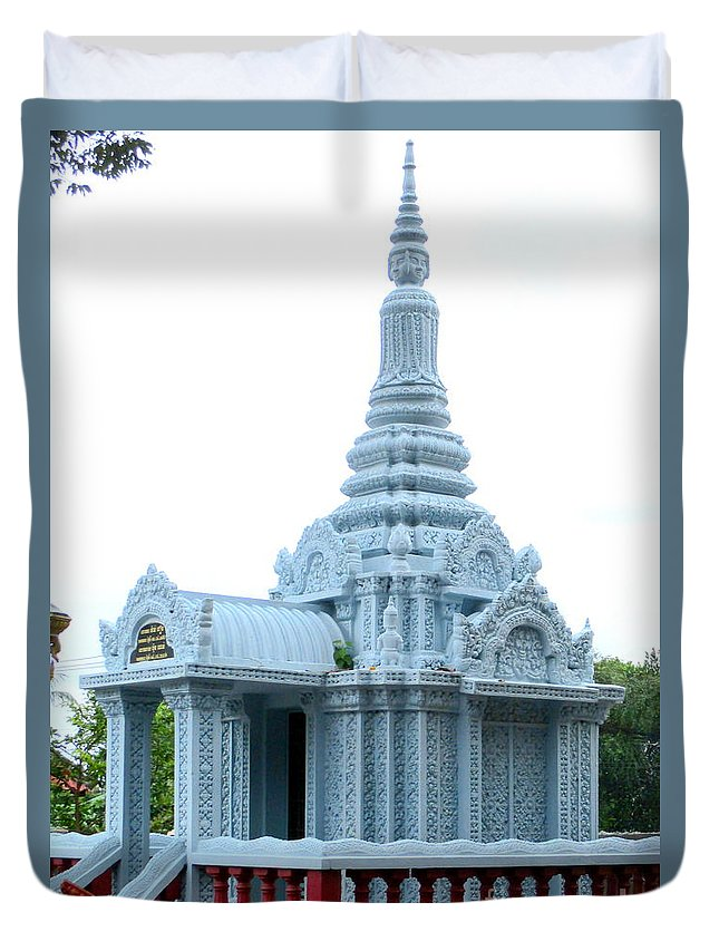 Cambodia Duvet Cover featuring the photograph Wat Krom 35 by Randall Weidner