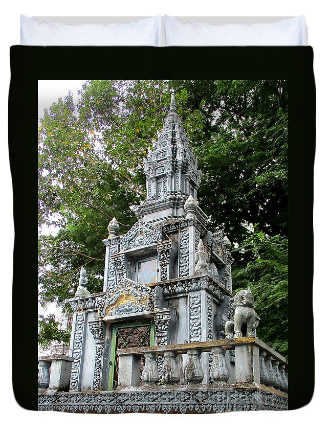 Cambodia Duvet Cover featuring the photograph Wat Krom 37 by Randall Weidner