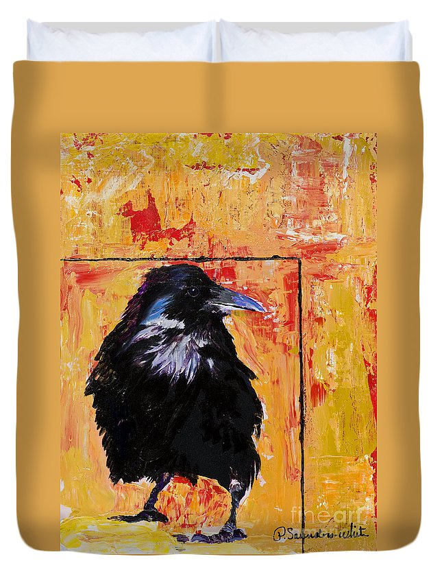 Large Decorative Fine Art Prints Duvet Cover featuring the painting Watch And Learn by Pat Saunders-White