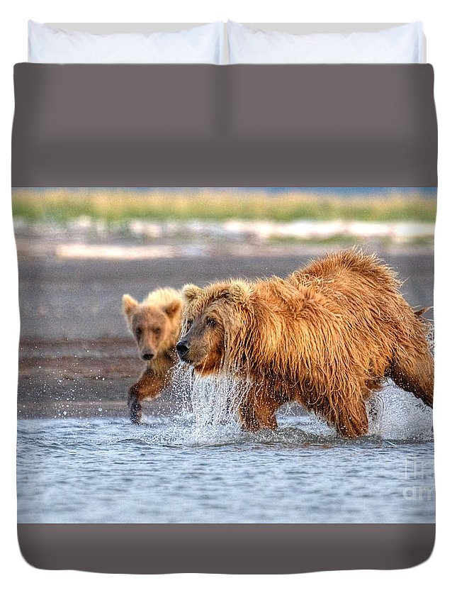Grizzly Bear Duvet Cover featuring the photograph Watch How Ma Does It by James Anderson