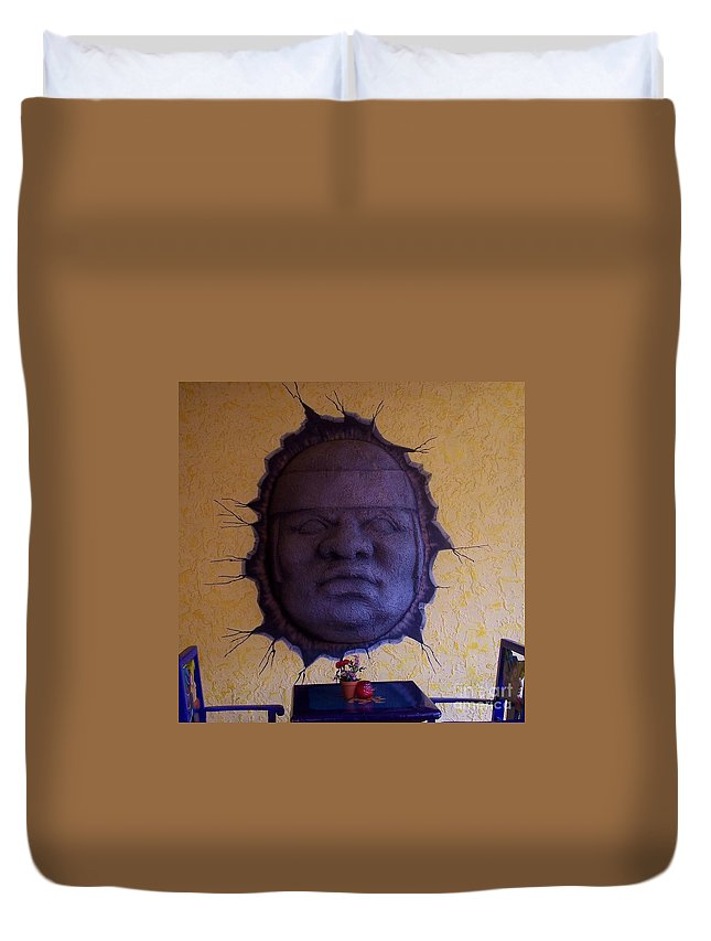 Face Duvet Cover featuring the photograph Watch What You Eat by Debbi Granruth