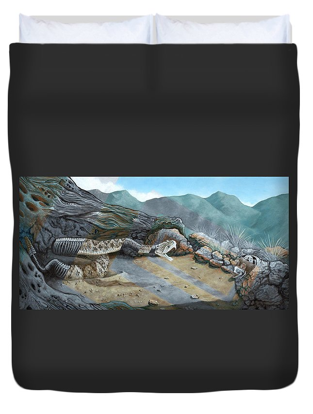 Landscape Duvet Cover featuring the painting Watch Your Step by LE Williams