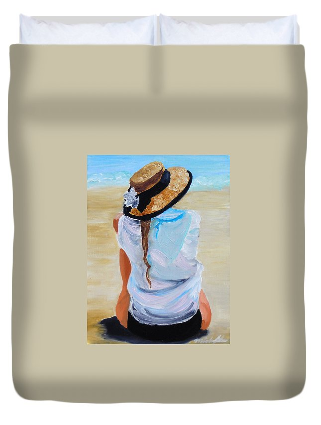 Beach Scene Duvet Cover featuring the painting Watching A Generation by Michael Lee