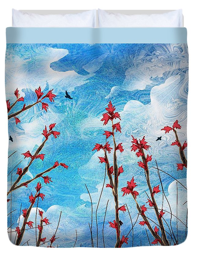 Abstract Duvet Cover featuring the digital art Watching Clouds Go By by Rachel Christine Nowicki