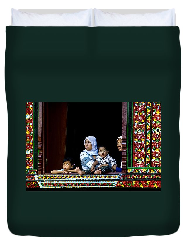 Art Duvet Cover featuring the photograph Watching From A Window by Charuhas Images