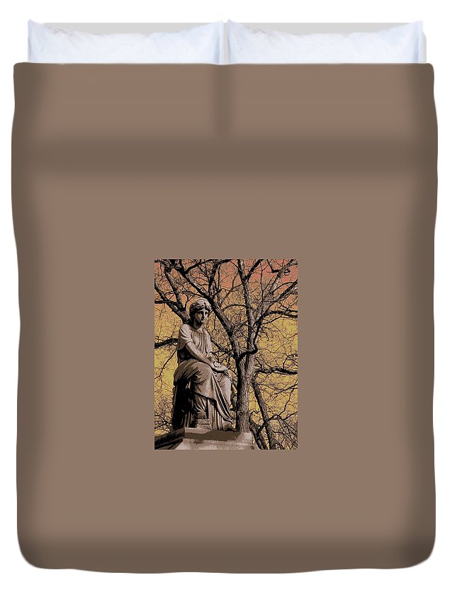Statue Duvet Cover featuring the digital art Watching Over by Anita Burgermeister