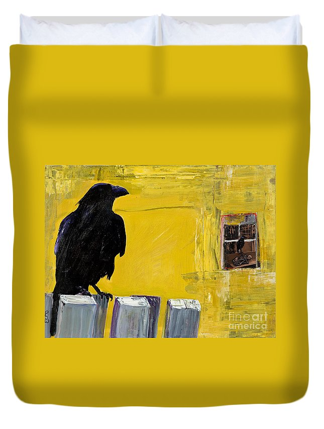 Pat Saunders-white Canvas Prints Duvet Cover featuring the painting Watching by Pat Saunders-White