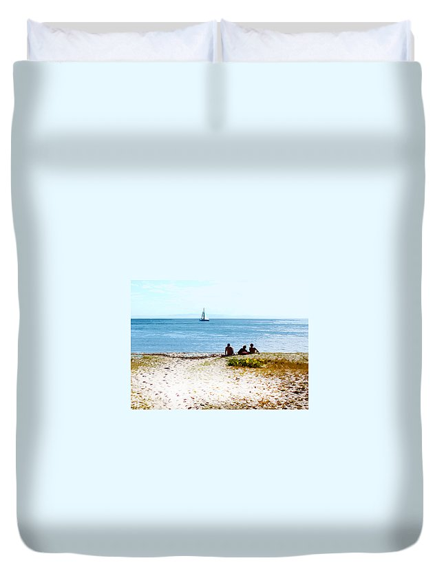 Sailboat Duvet Cover featuring the photograph Watching The Boats Pass By by Susan Vineyard