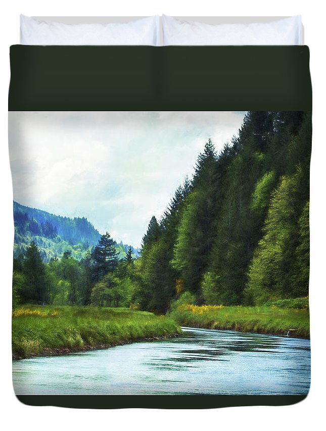 Canal Duvet Cover featuring the photograph Watching The Days Go By by Belinda Greb