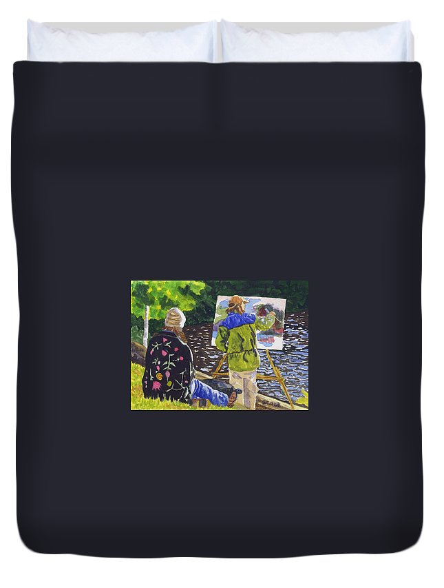 Artist Duvet Cover featuring the painting Watching The Maestro by Sharon E Allen