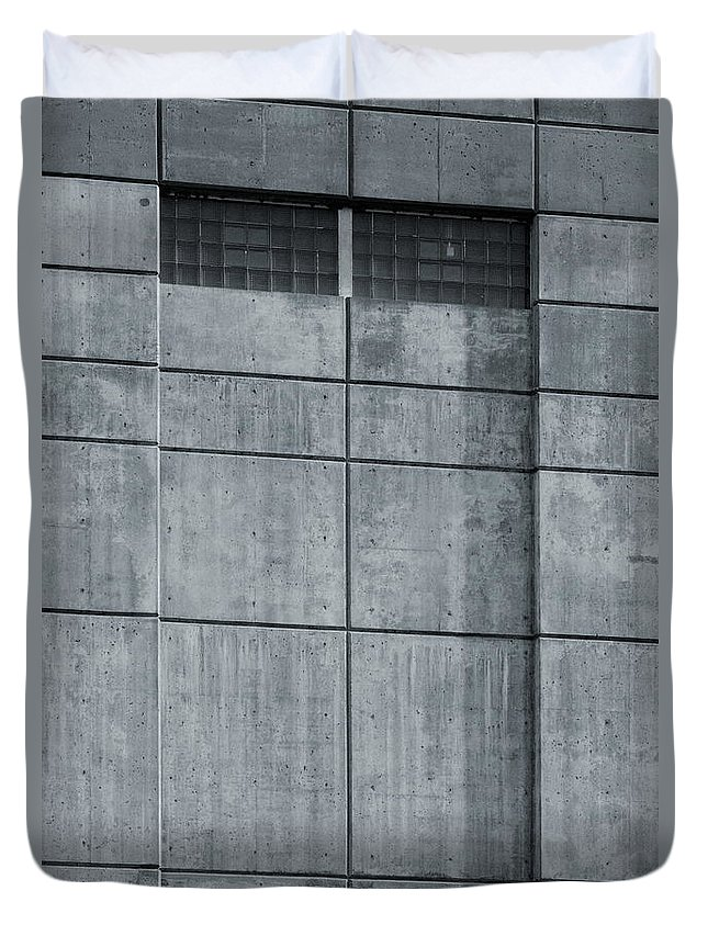 Watchtower Watch Tower Megalith Monolith Concrete Cement Window Winows Black White Monochrome Watching Duvet Cover featuring the photograph Watchtower 2956 by Ken DePue