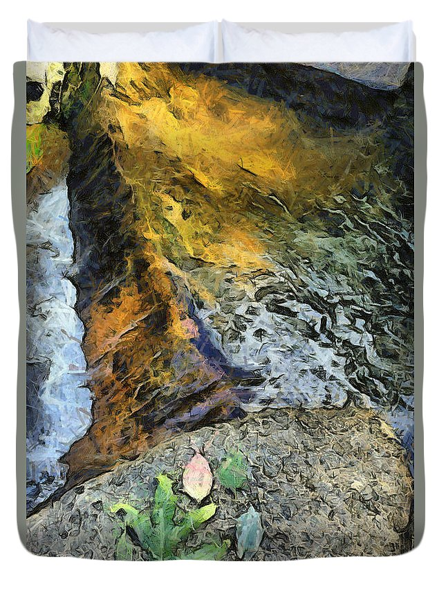 Water Stream Duvet Cover featuring the photograph Water And Rock by Ashish Agarwal